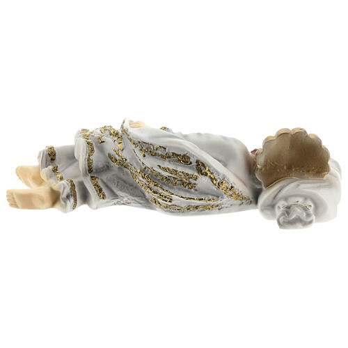Schlafender Sankt Joseph aus Marmorstaub mit goldfarbigen Verzierungen, 20 cm 4