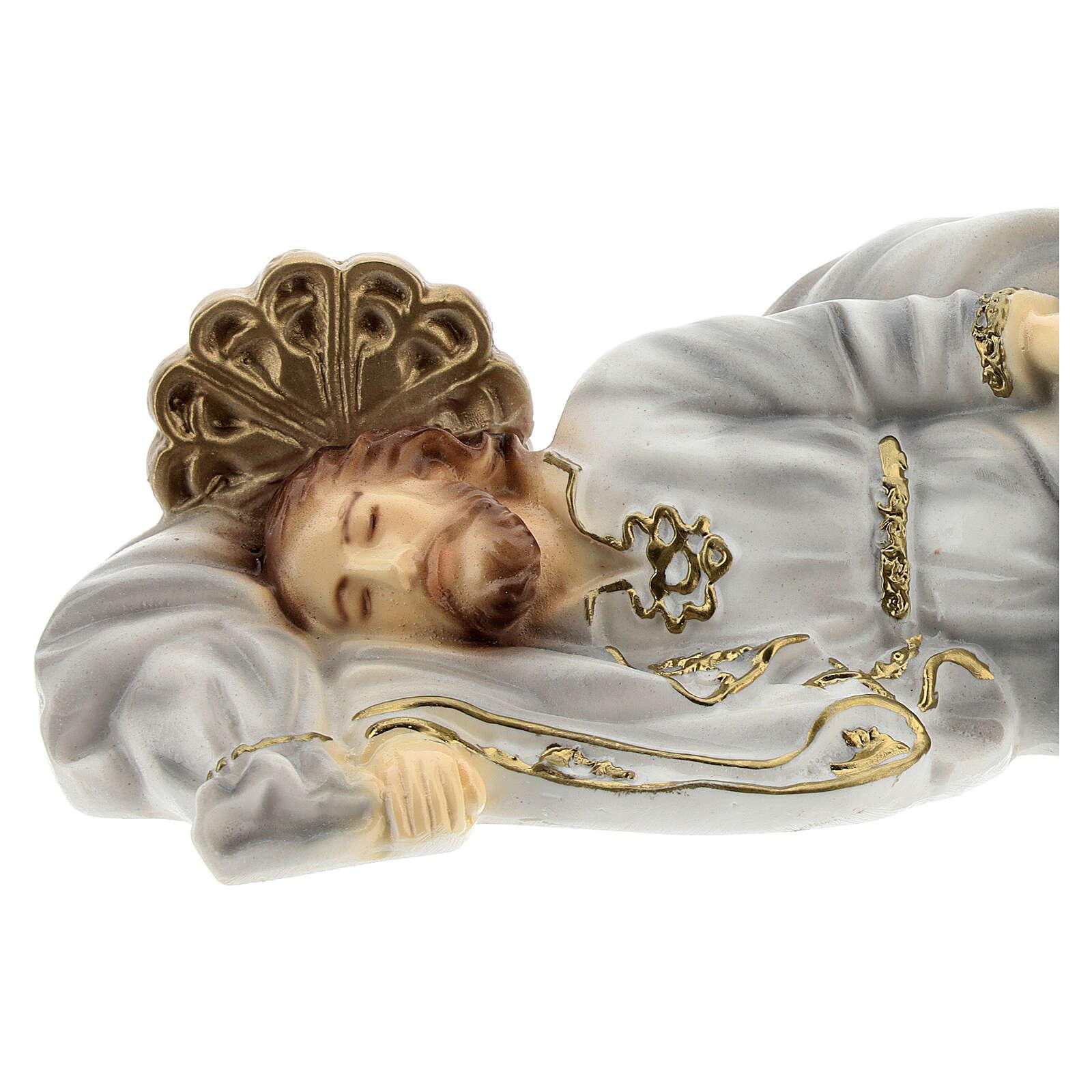 San Giuseppe dormiente decori oro polvere di marmo 20 cm 4