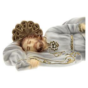 São José dormindo manto branco pó de mármore 4x19x8 cm