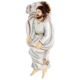 Schlafender Sankt Joseph aus Marmorstaub mit weißem Gewand, 40 cm AUßEN s4