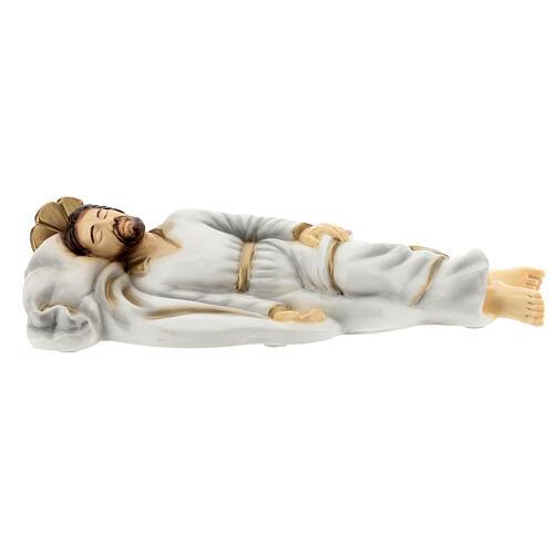 Schlafender Sankt Joseph aus Marmorstaub mit weißem Gewand, 40 cm AUßEN 1