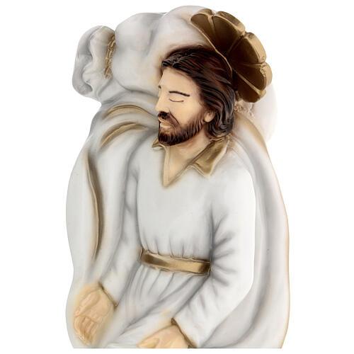Schlafender Sankt Joseph aus Marmorstaub mit weißem Gewand, 40 cm AUßEN 2