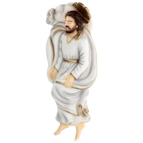 Schlafender Sankt Joseph aus Marmorstaub mit weißem Gewand, 40 cm AUßEN 4