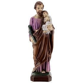 São José com Menino Jesus pó de mármore pintado 31,5 cm PARA EXTERIOR