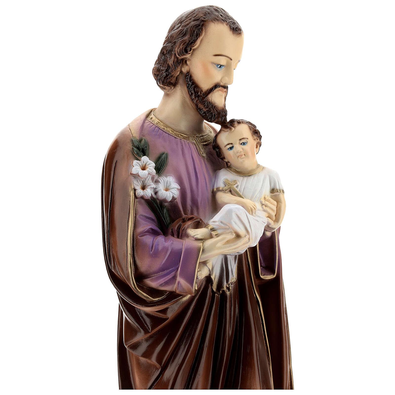 San Giuseppe con Bambino dipinta polvere di marmo 70 cm ESTERNO 4