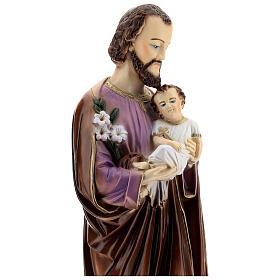 São José com Menino Jesus pó de mármore pintado 66 cm PARA EXTERIOR