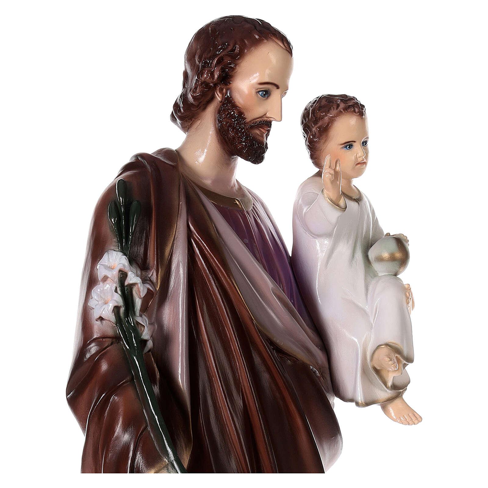 San Giuseppe con Bambino polvere di marmo dipinta 100 cm ESTERNO 4