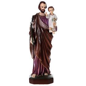 San Giuseppe con Bambino polvere di marmo dipinta 100 cm ESTERNO s1