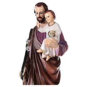 San Giuseppe con Bambino polvere di marmo dipinta 100 cm ESTERNO s4