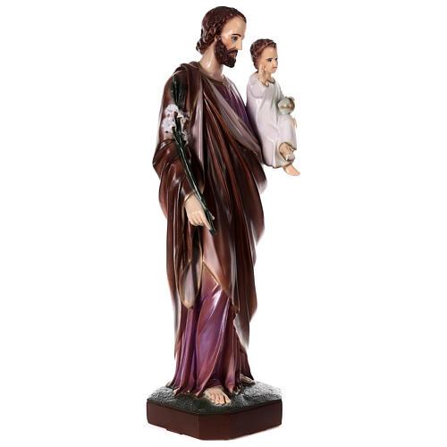San Giuseppe con Bambino polvere di marmo dipinta 100 cm ESTERNO 5