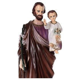 Imagem São José com Menino Jesus pó de mármore pintado 101 cm PARA EXTERIOR