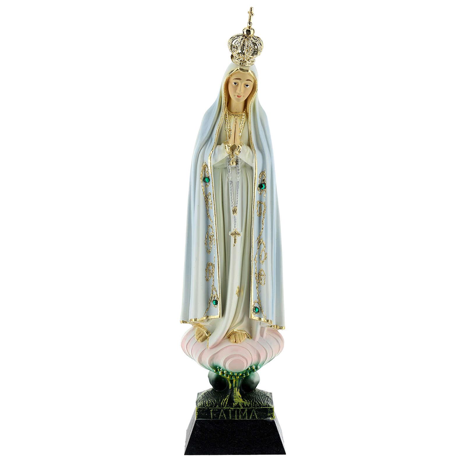 Statue Notre Dame de Fatima résine strass 22 cm 4