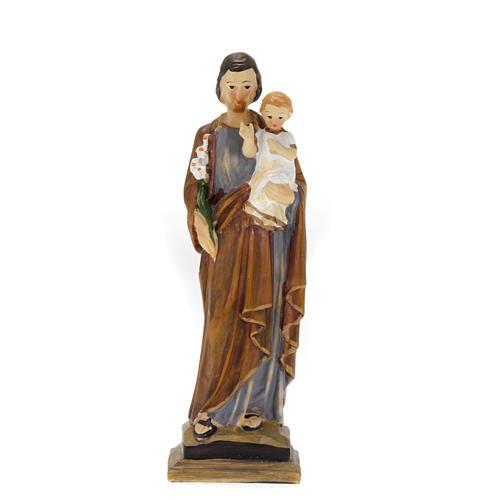 Statue Heiliger Josef mit dem Jesusknaben aus farbig gefasstem Kunstharz 20 cm 1