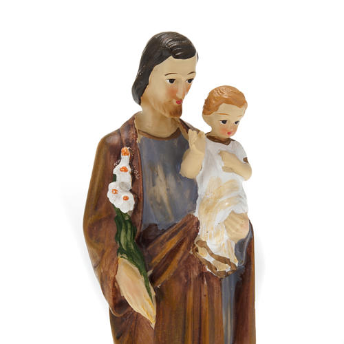 Estatua San José de Nazaret con niño resina colorada 20 cm.