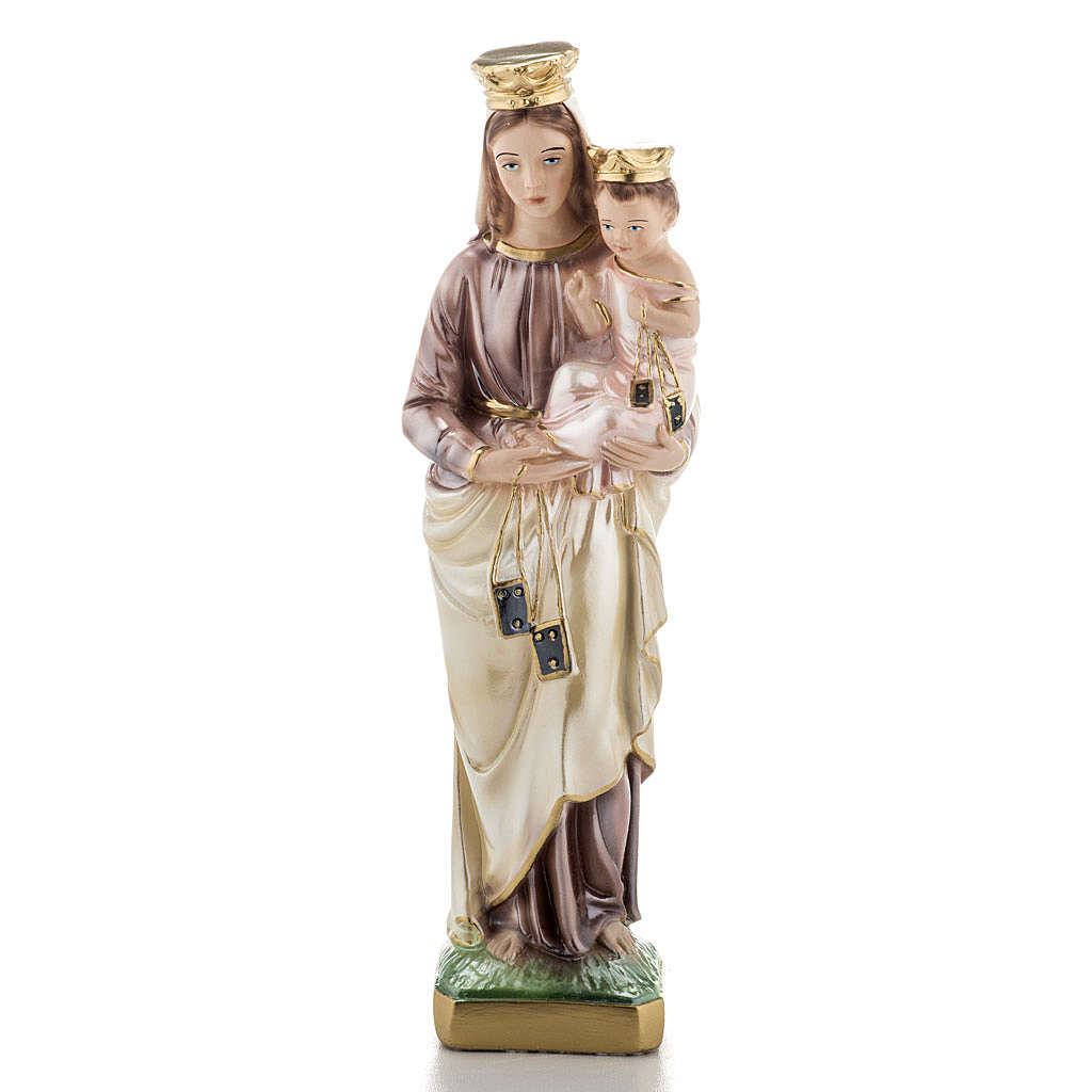 Our Lady of Carmel, pearlized plaster statue, 30 cm 4