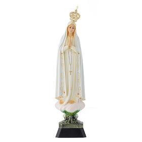 Statua Madonna Fatima corona occhi cristallo 35 cm s1