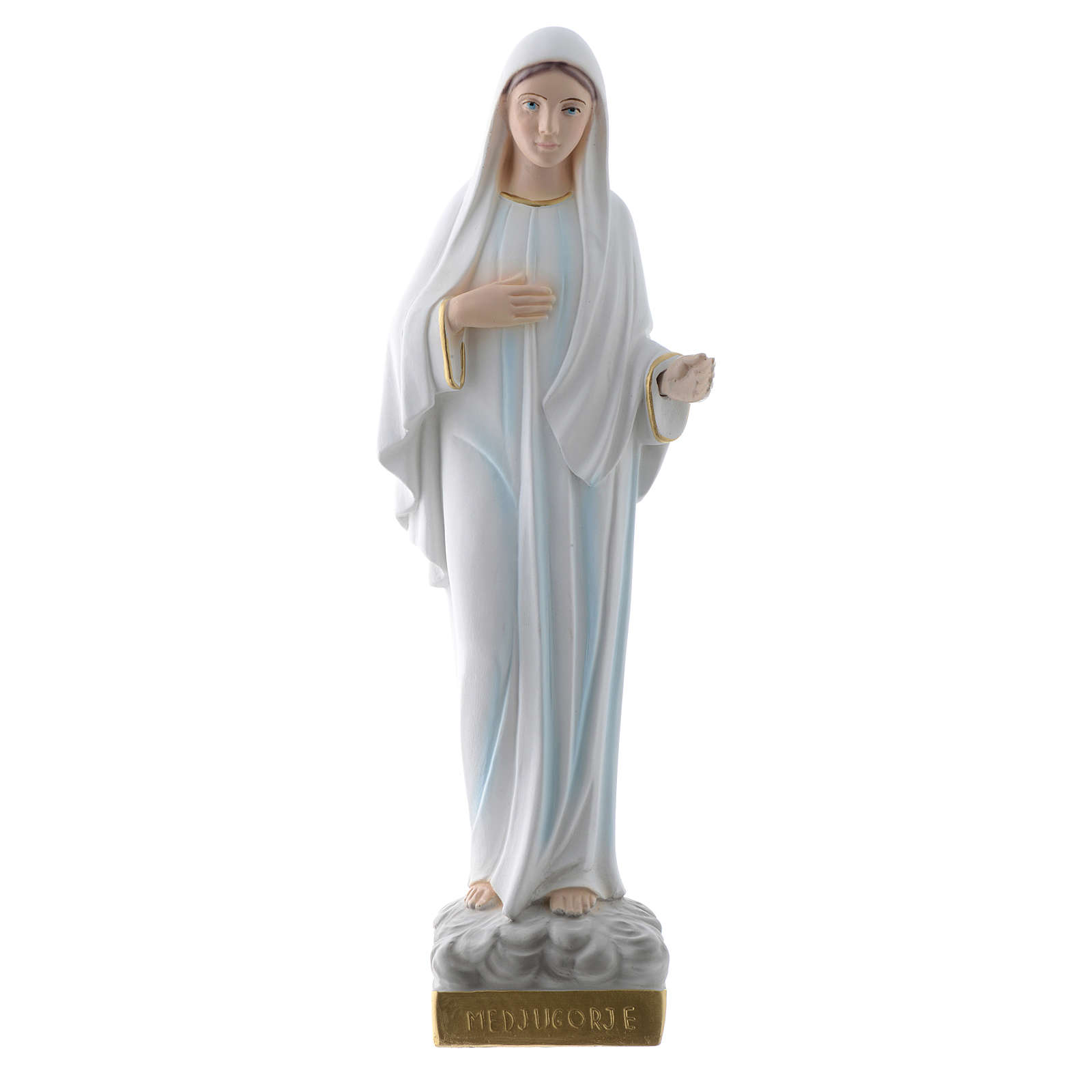 Our Lady of Medjugorje statue in plaster, 30 cm 4