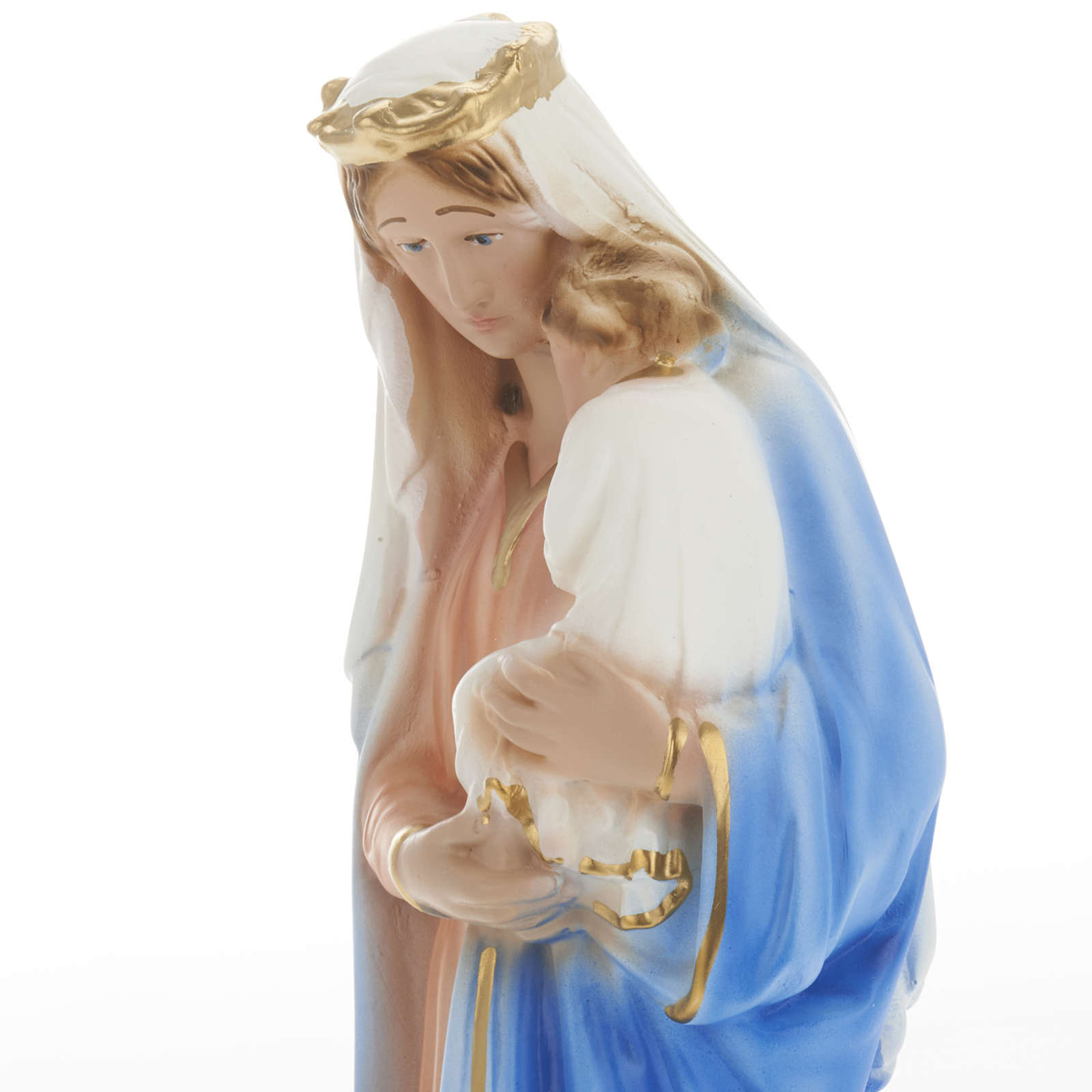 Blessed Mary with baby Jesus statue in plaster, 30 cm 4