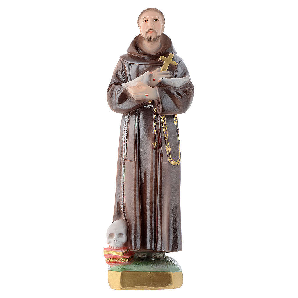Statua San Francesco 30 cm gesso madreperlato 4
