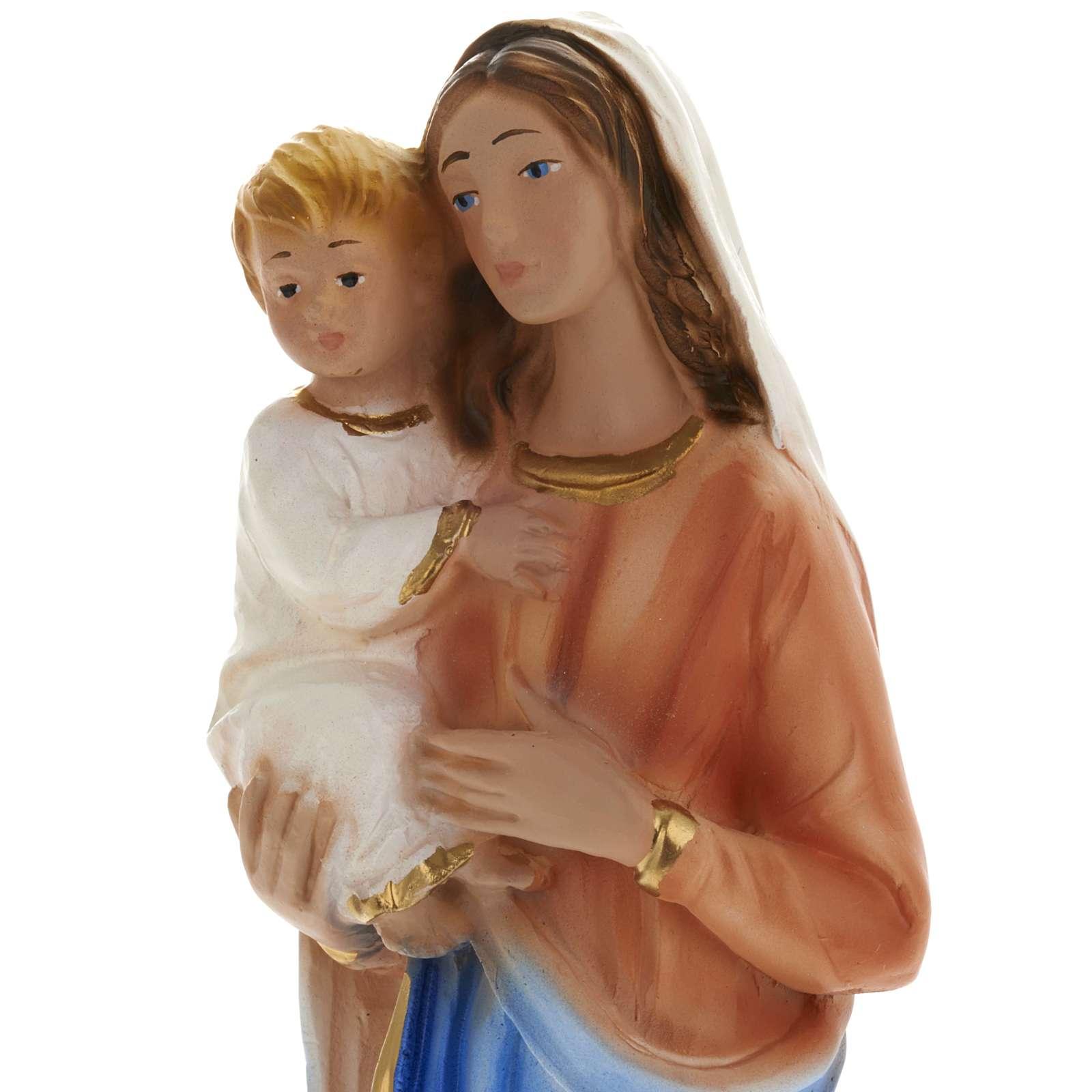 Statua Madonna con bambino 25 cm gesso 4