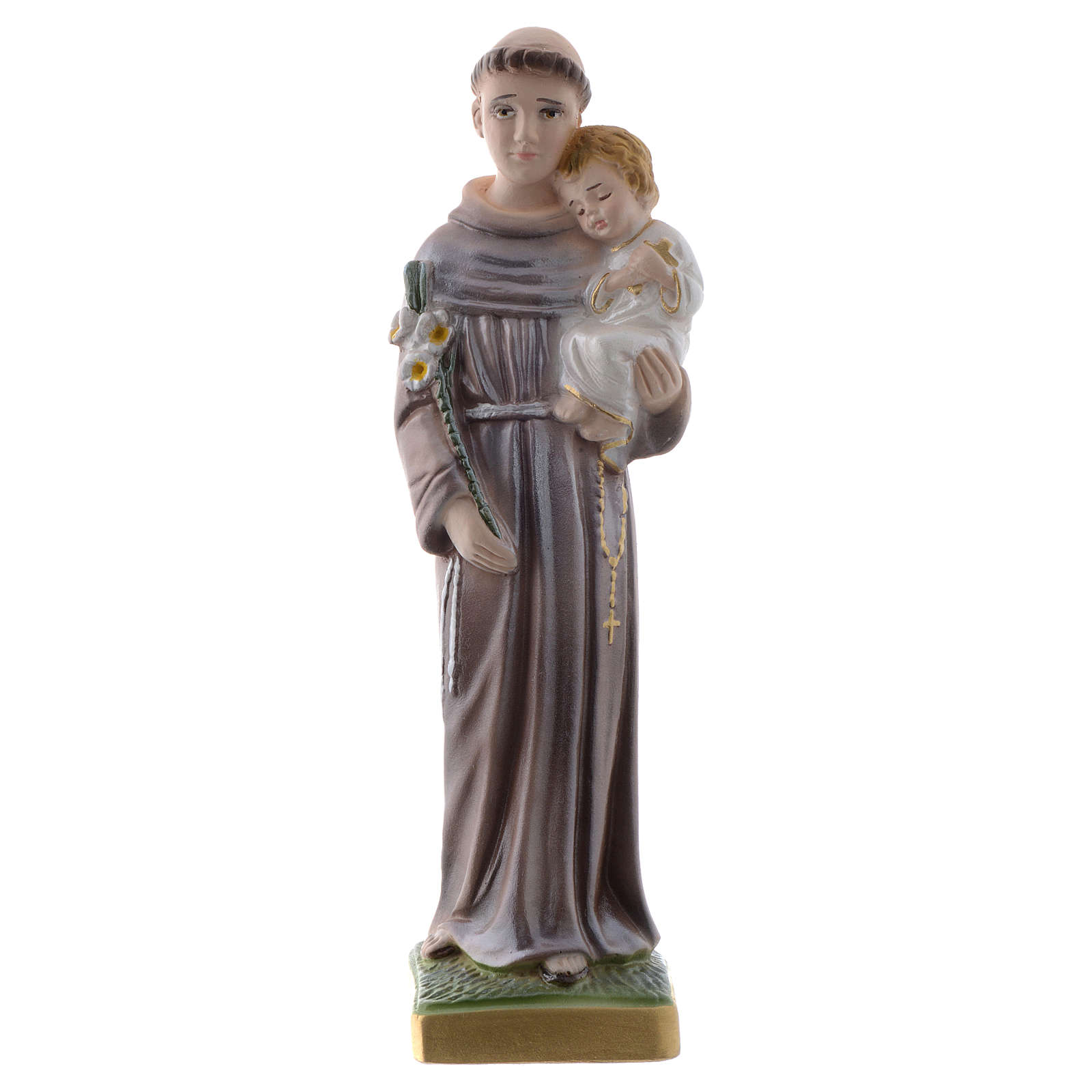 Saint Anthony of Padua statue in pearlized plaster, 20 cm 4