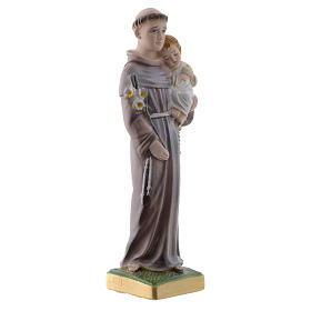 Saint Anthony of Padua statue in pearlized plaster, 20 cm s3