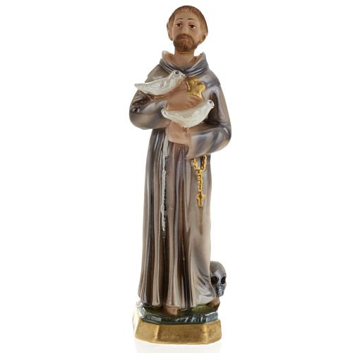 Saint Francis of Assisi statue in plaster, 20 cm 1