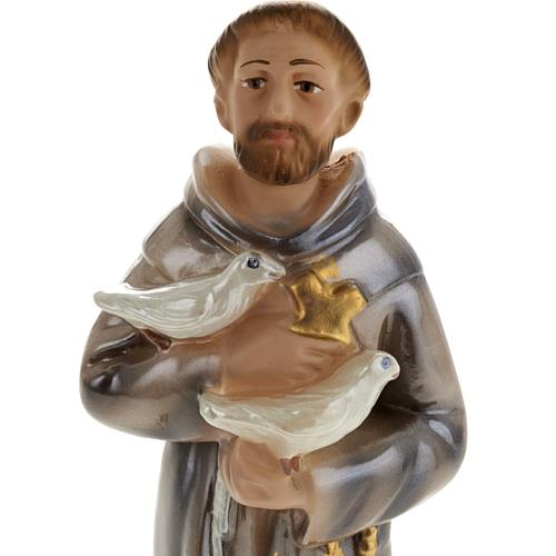 Saint Francis of Assisi statue in plaster, 20 cm 2