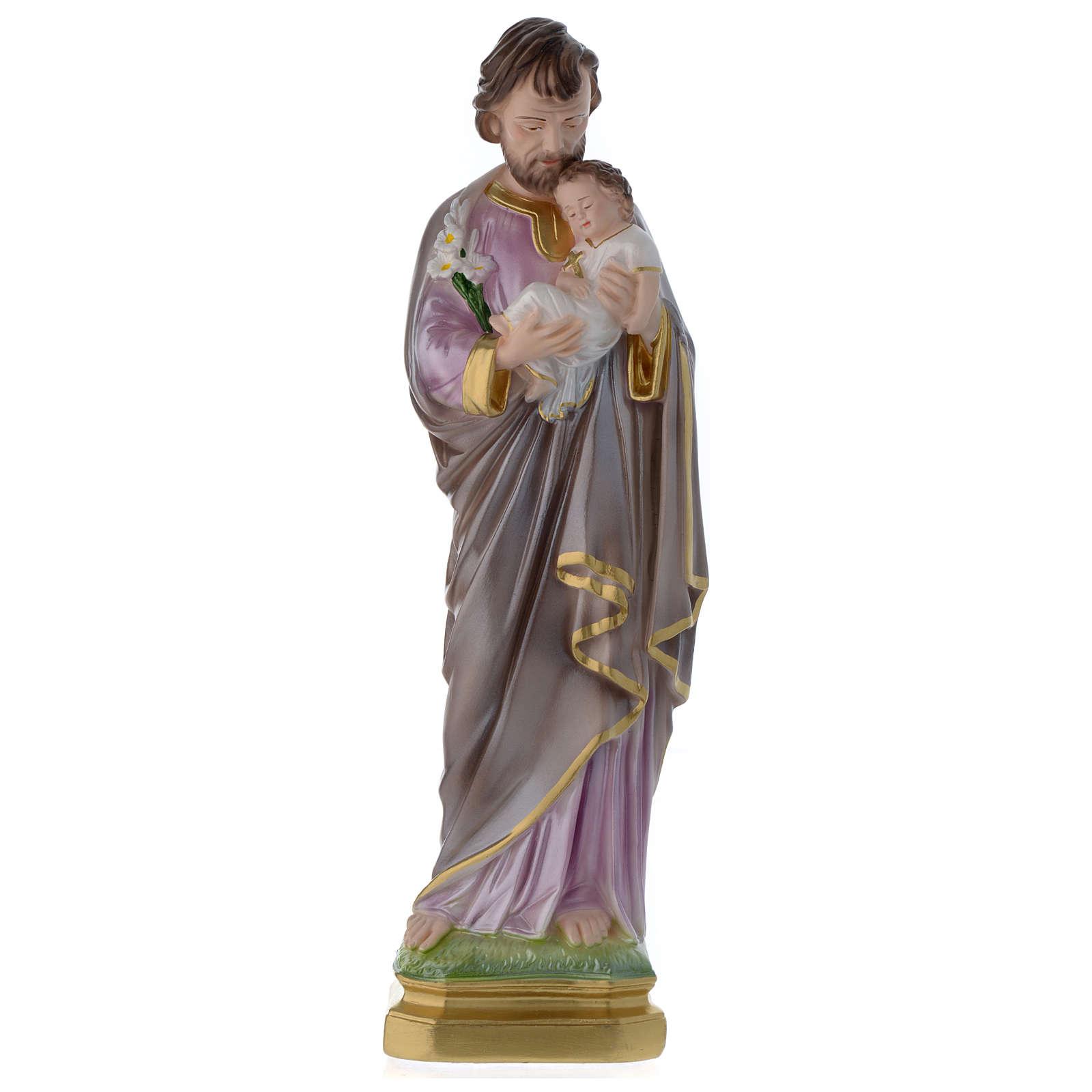 Statua San Giuseppe con bambino gesso madreperlato 40 cm 4