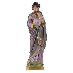 Statua San Giuseppe con bambino gesso madreperlato 40 cm s1