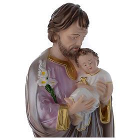 Statua San Giuseppe con bambino gesso madreperlato 40 cm s2