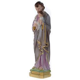 Statua San Giuseppe con bambino gesso madreperlato 40 cm s4