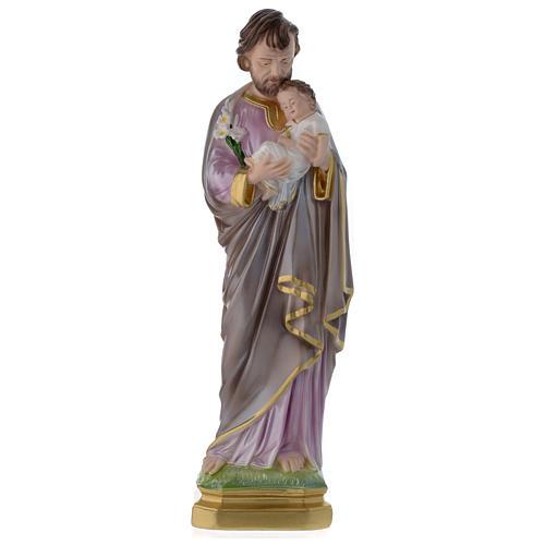 Statua San Giuseppe con bambino gesso madreperlato 40 cm 1