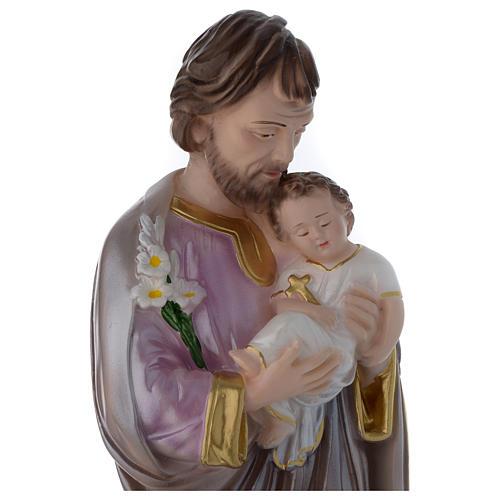 Statua San Giuseppe con bambino gesso madreperlato 40 cm 2
