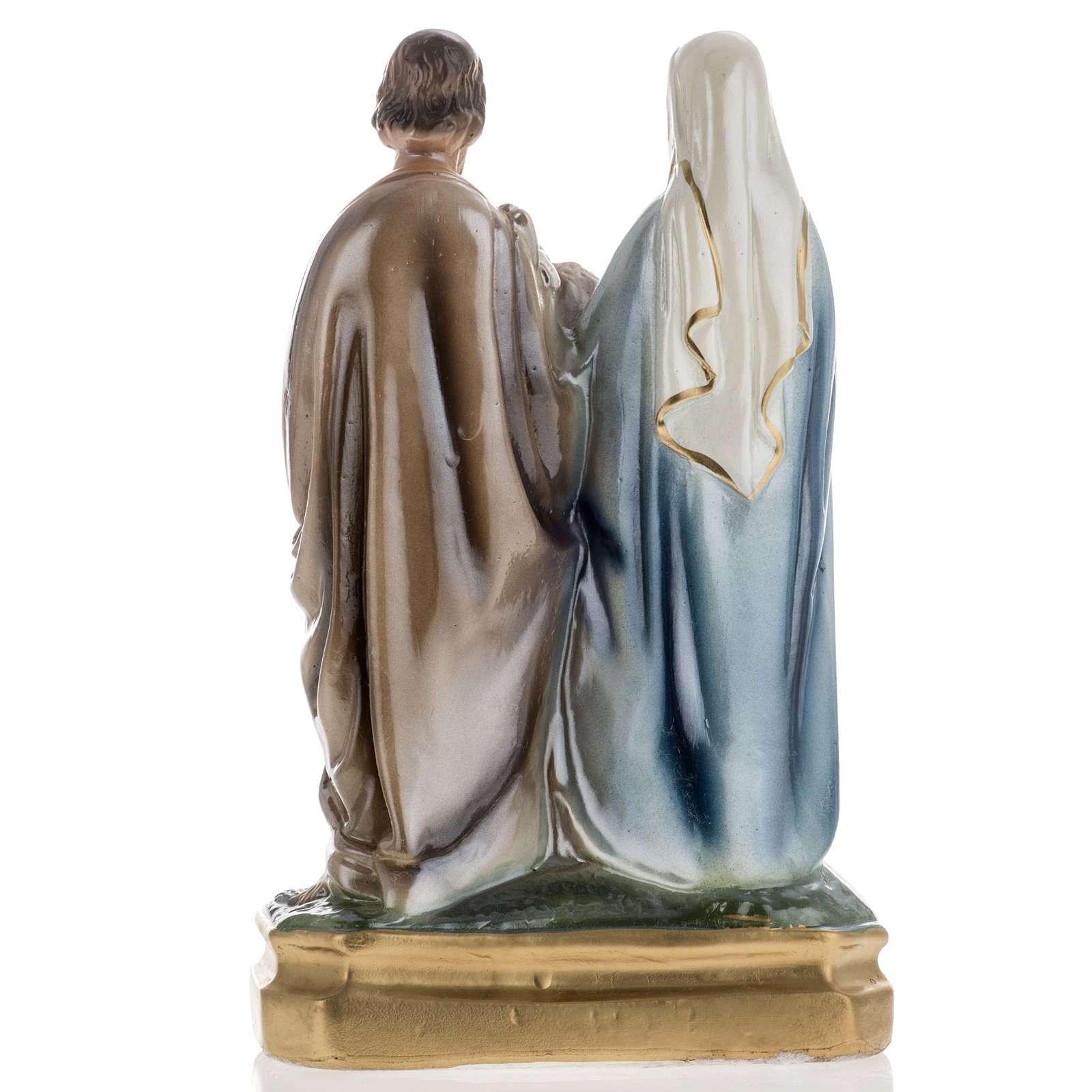 Statua Sacra Famiglia 25 cm gesso madreperlato 4