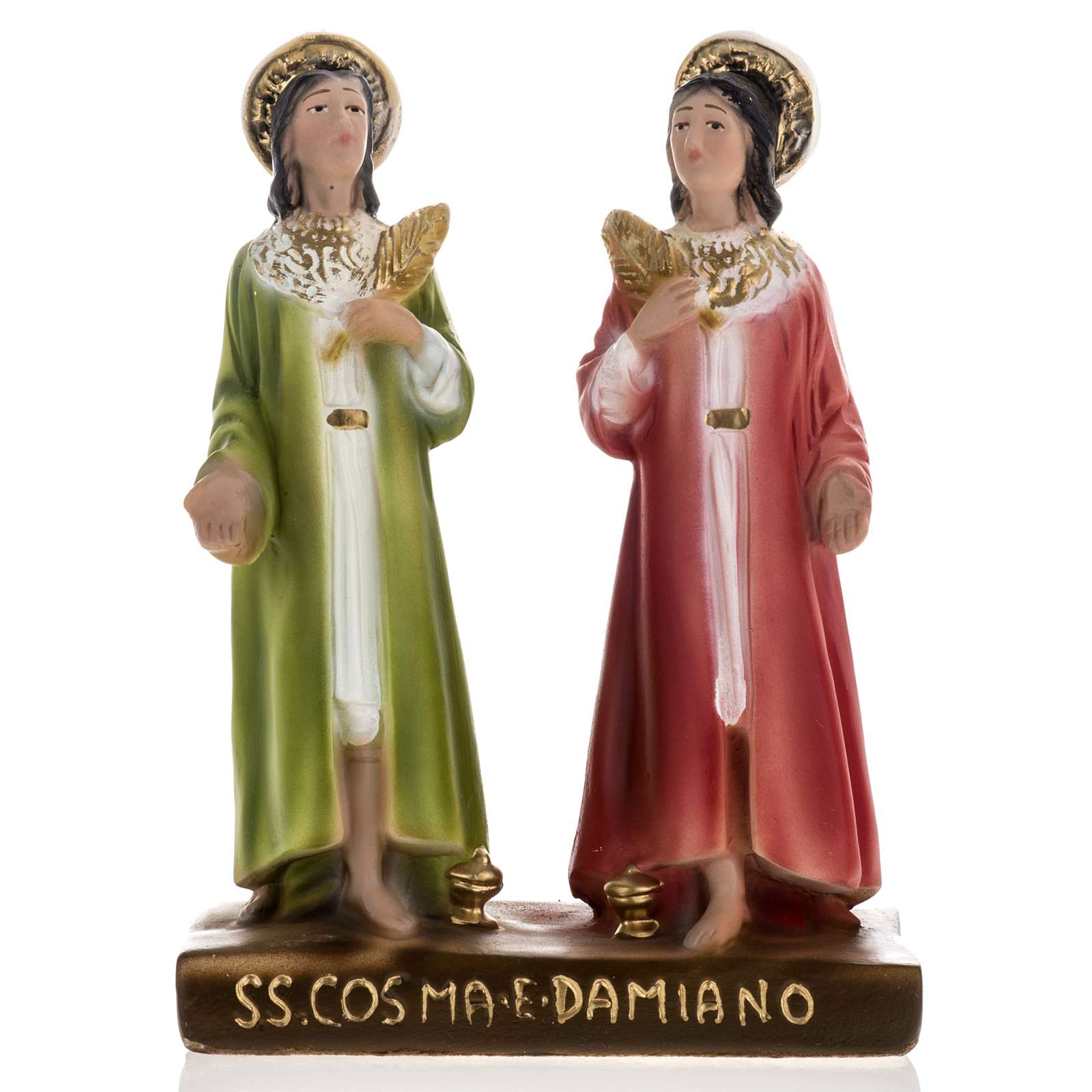 Saints Cosmas and Damian statue in plaster, 20 cm 4