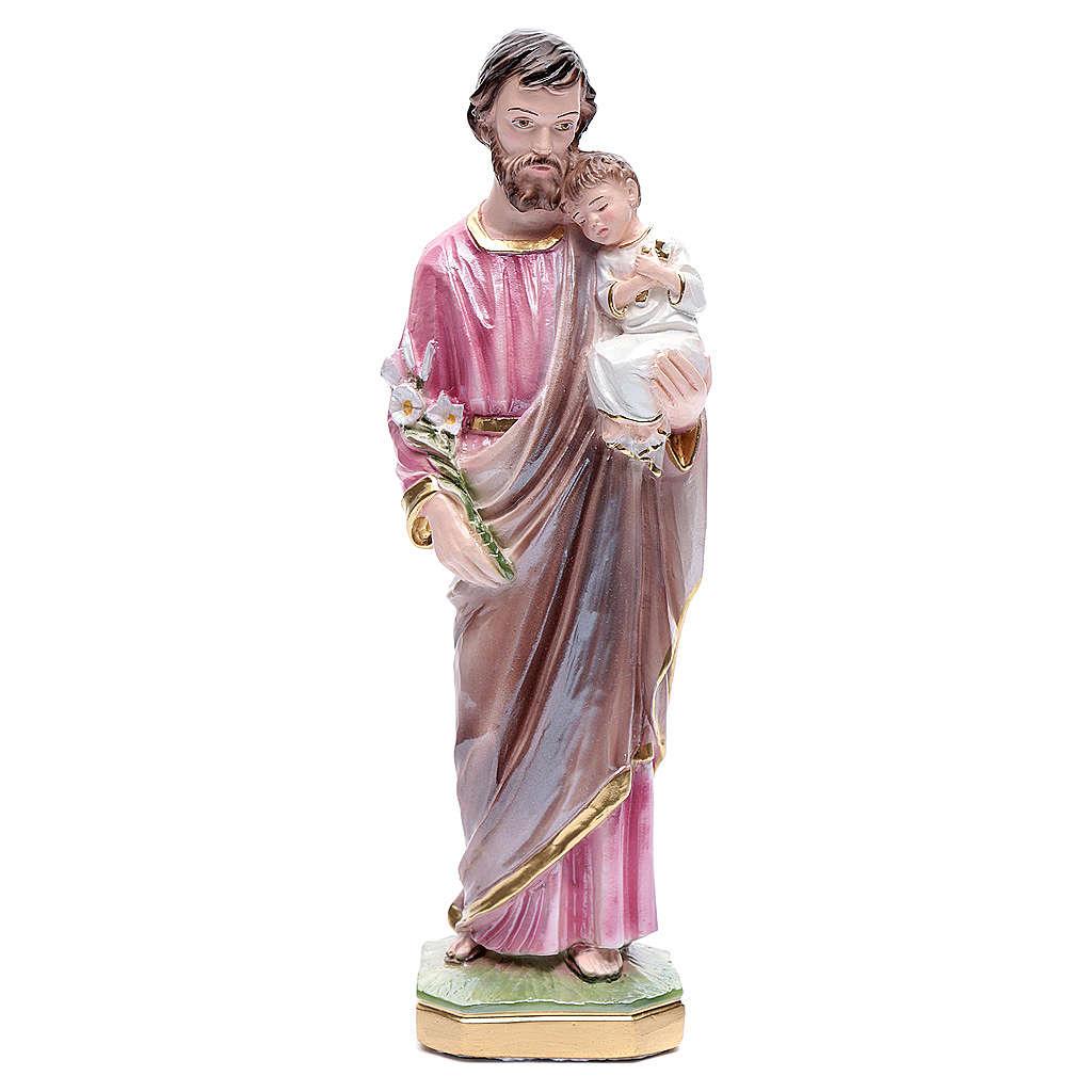 Statua San Giuseppe con bambino gesso madreperlato 30 cm 4
