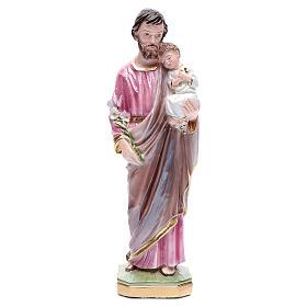 Statua San Giuseppe con bambino gesso madreperlato 30 cm s1