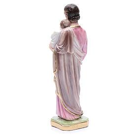 Statua San Giuseppe con bambino gesso madreperlato 30 cm s3