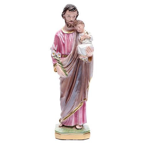 Statua San Giuseppe con bambino gesso madreperlato 30 cm 1