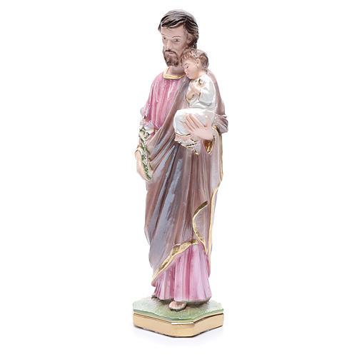 Statua San Giuseppe con bambino gesso madreperlato 30 cm 2