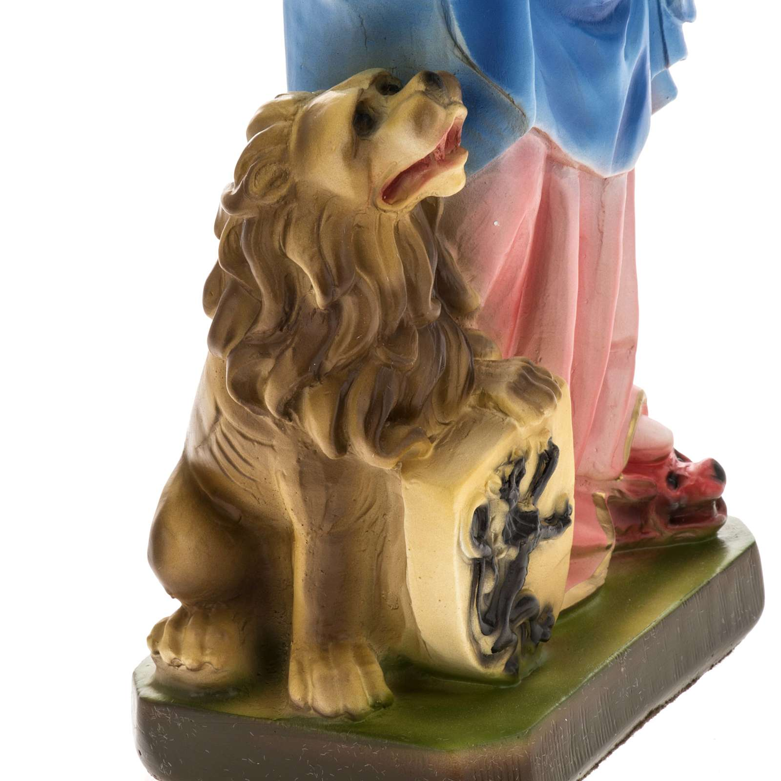 Our Lady of Rosary with lion, statue in plaster, 30 cm 4