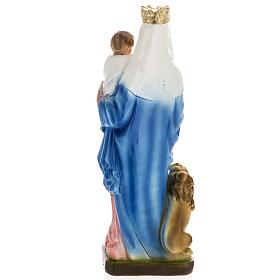Our Lady of Rosary with lion, statue in plaster, 30 cm s5
