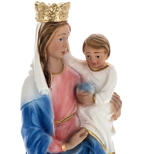Our Lady of Rosary with lion, statue in plaster, 30 cm 2
