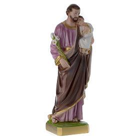 Statua San Giuseppe con bambino 50 cm gesso madreperlato s3