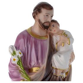 Statua San Giuseppe con bambino 50 cm gesso madreperlato
