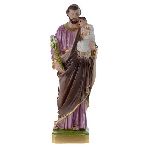 Statua San Giuseppe con bambino 50 cm gesso madreperlato 1