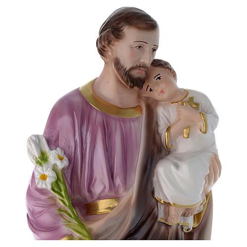 Statua San Giuseppe con bambino 50 cm gesso madreperlato 2
