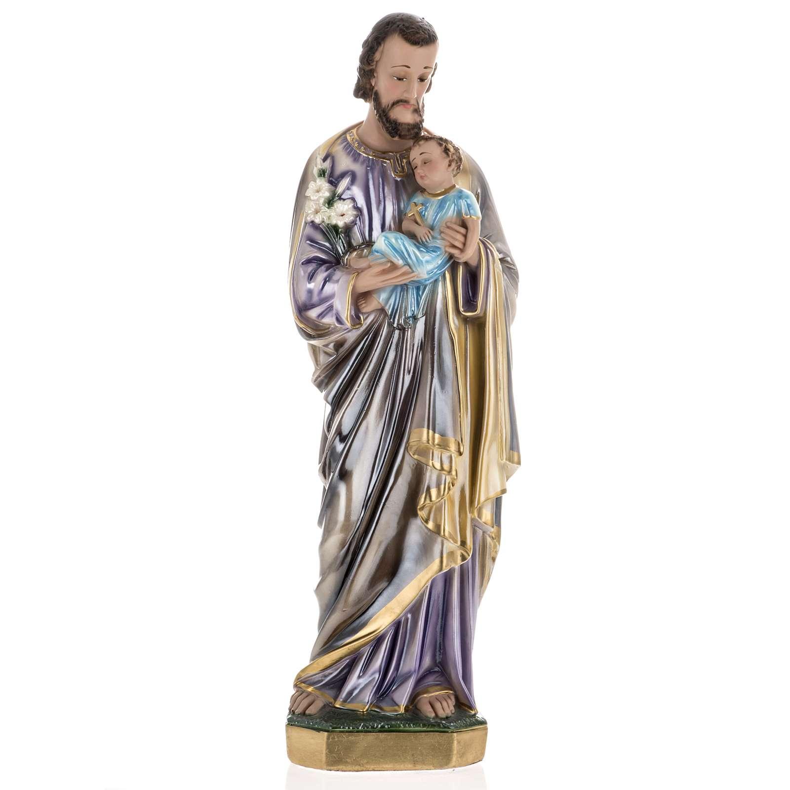 Statua San Giuseppe con bambino 60 cm gesso madreperlato 4