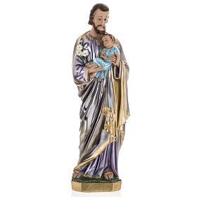 Statua San Giuseppe con bambino 60 cm gesso madreperlato s1